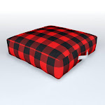"Classic Red and Black Buffalo Check Plaid Tartan Outdoor Floor Cushion by PodArtist - 26"" x 26"" x 6"""