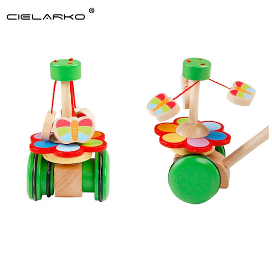 Toy Wooden Push & Pull Whirling Butterfly