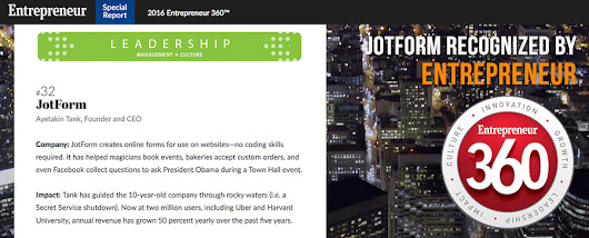"JotForm Named One of The ""Best Entrepreneurial Companies in America"""