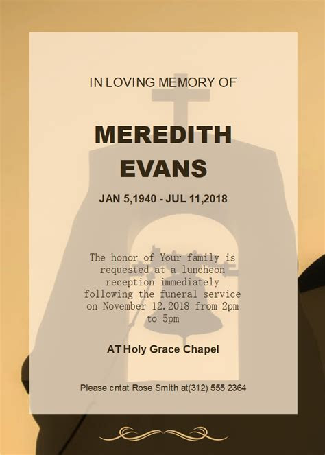 Free Church Background Funeral Invitation Templates