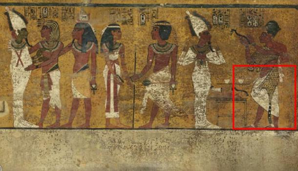 Scans of the north wall of King Tutankhamun's burial chamber have revealed features beneath the intricately decorated plaster (highlighted) a researcher believes may be a hidden door, possibly to the burial chamber of Nefertiti.