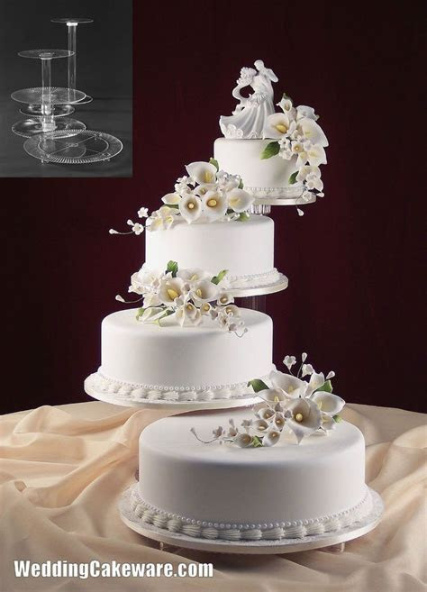 4 tier splendor cascade wedding cake stand stands set