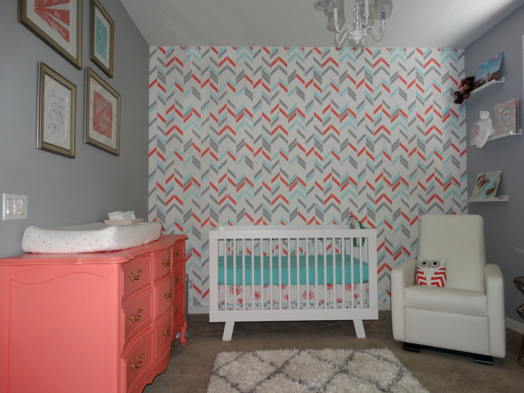 Stenciled Herringbone Wall
