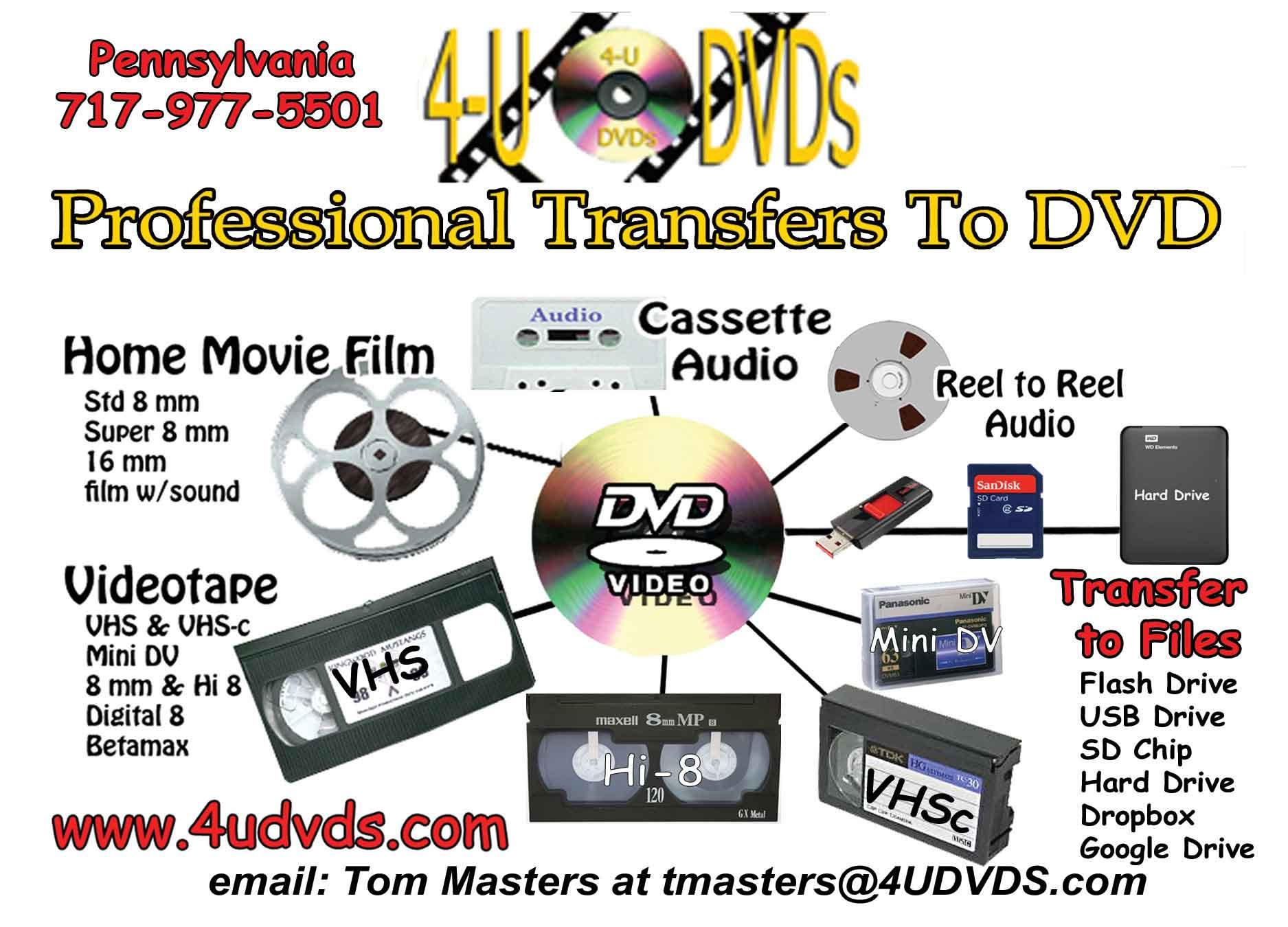 4udvds Film Transfer Converting Vhs To Dvd Cd Duplication Pennsylvania