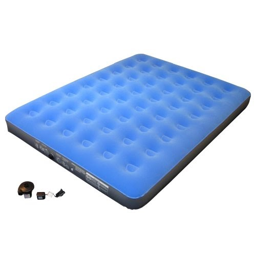 Embark Flocked Queen Airbed With Pump Blue Airbed And Pump