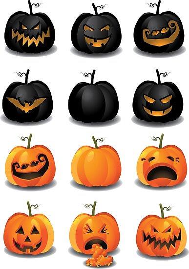 Black and Orange Jack 'o Lanterns