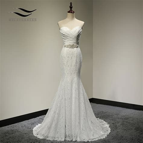 Bridal Wedding Gown Real Photos White Lace Cheap Mermaid