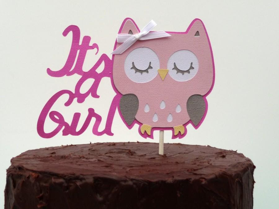 Owl Baby Shower Decorations Its A Girl Owl Cake Topper Baby