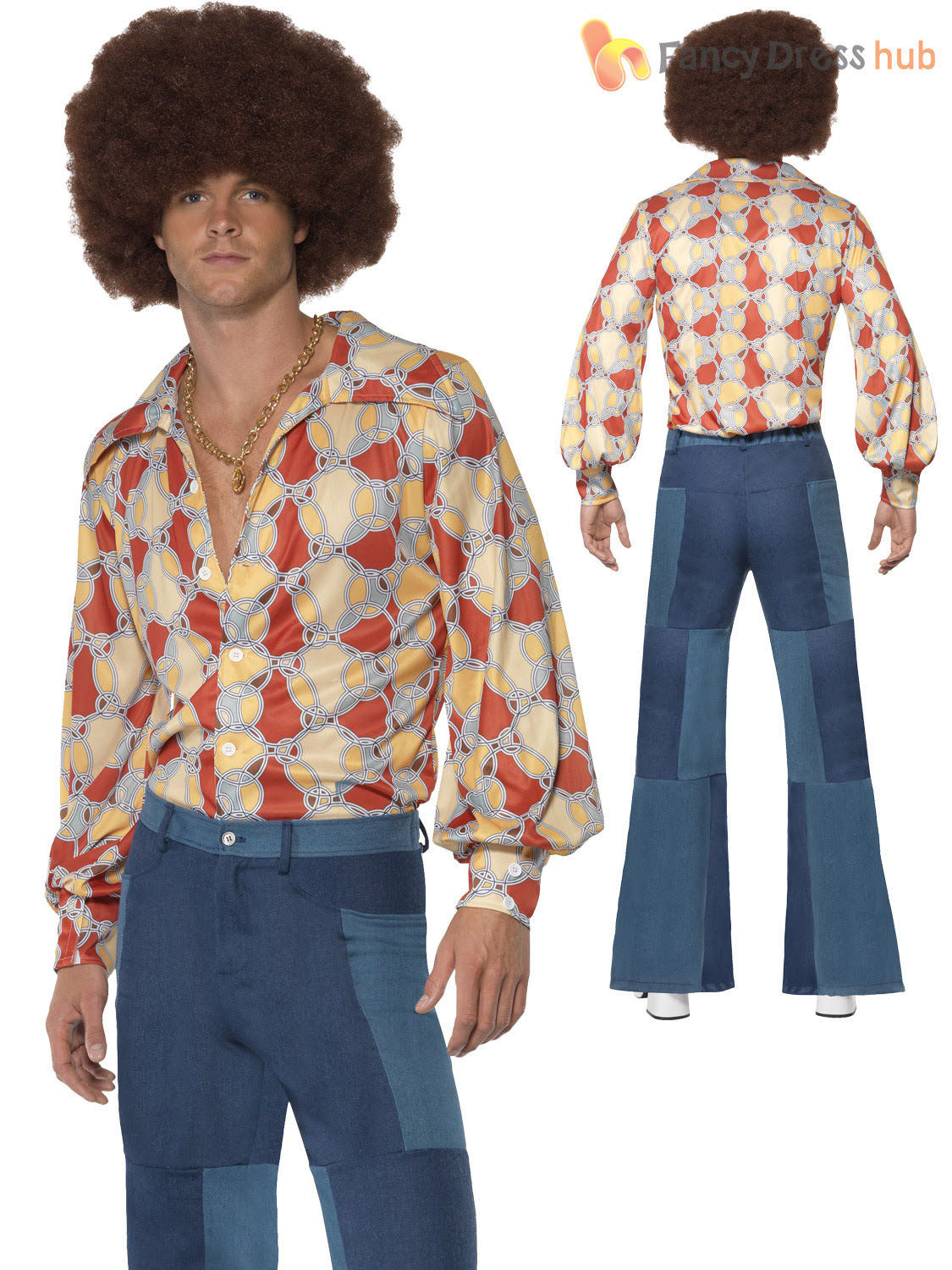 mens groovy hippy flares 60s 70s fancy dress hippie adult