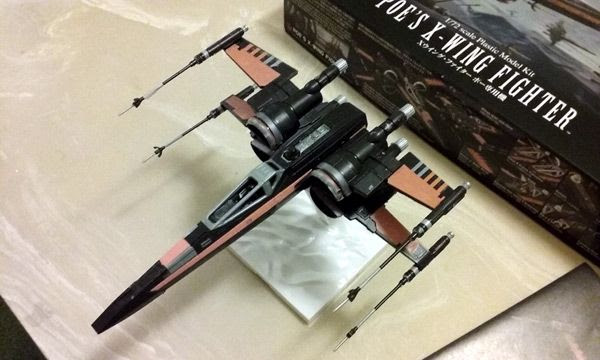 The model kit of the 'Black One' X-Wing fighter that I received for Christmas today.