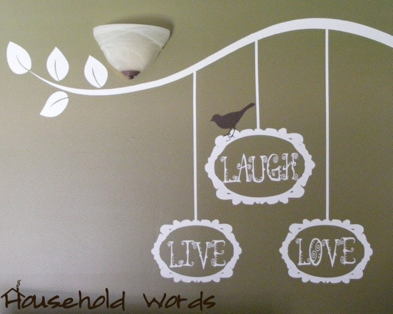 LIVE LAUGH LOVE Bird Branch and Baroque Frames by HouseHoldWords