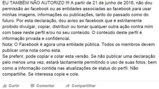 Declaração circula desde 2012 no Facebook, mas não tem qualquer efeito prático. (Foto: BBC)