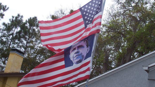 obama flag democrat Is America Better Off Today Under Obama?