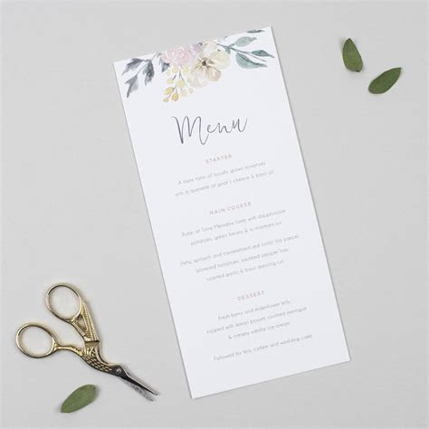 floral blush wedding menu card by pear paper co