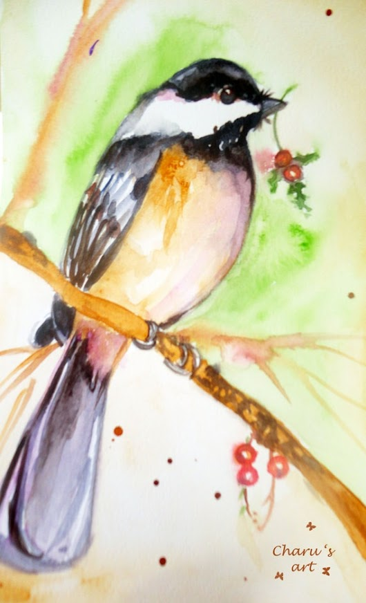 SALE Original watercolor Chickadee Christmas by WatercolourbyCharu