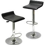 Winsome 93329 Metal leg black cushion seat Iron Faux seat SET OF 2 STOOL ADJUSTABLE K/D FAUX SEAT