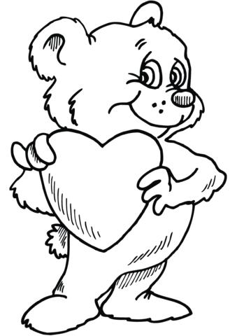 Dibujo De Oso De Peluche Con El Corazón Para Colorear Dibujos Para