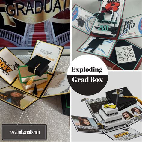 Graduation Announcement Exploding Box w/ 3D Books   Jinkys