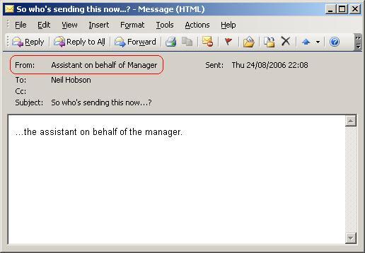Пример письма, отправленного с функцией 'Send on Behalf of'