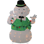 Northlight 33 Lighted White and Green Sam The Snowman Christmas Outdoor Decoration