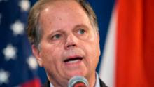 Senator-elect Doug Jones (D-AL) speaks during a December 13, 2017 in Birmingham, Alabama. Jones stated that US President Donald Trump called him today to congratulate him on his victory. (Photo by Mark Wallheiser/Getty Images)