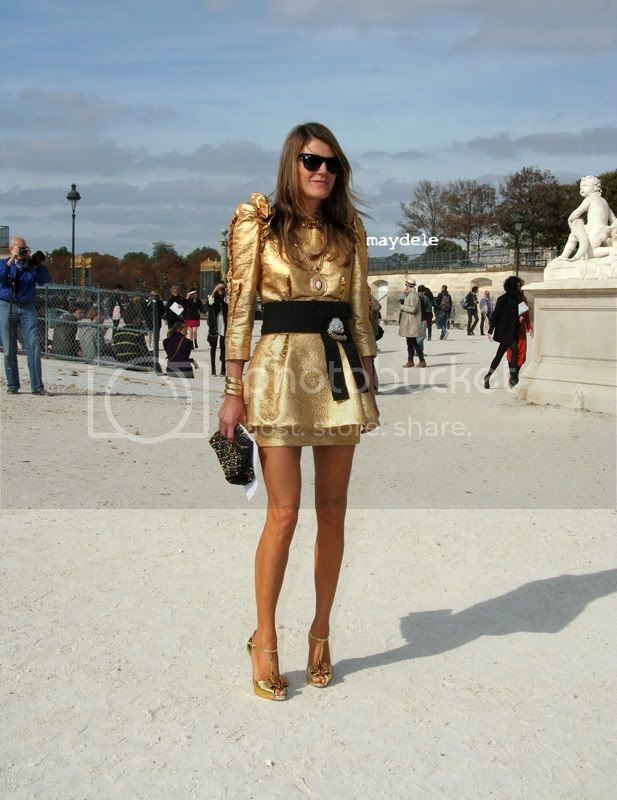 Anna dello Russo wearing Dolce & Gabbana dress, Marc Jacobs Thrash bag and Christian Louboutin Archidisco shoes