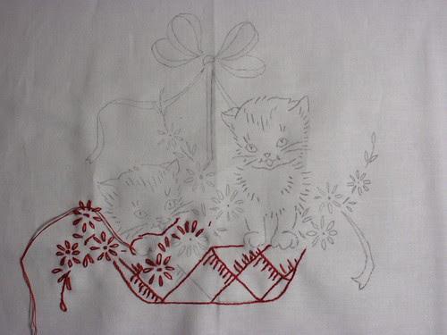 Redwork kittens