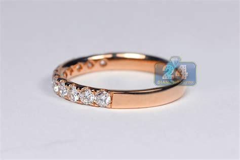Womens Diamond Wedding Ring Band 18K Rose Gold 0.58 ct 2.3 mm