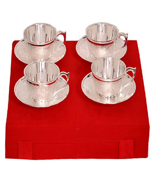 Buy Elite Handicrafts Silver Plated 4 Brass Tea Cups And Saucer Set @ Best Prices | Snapdeal