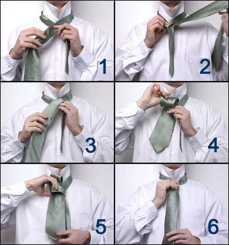 Fashion 2010 when you tie the four in hand knot choose the tie you want to use and stand in front of a mirror pull the tie around your neck and hold the two ccuart Image collections