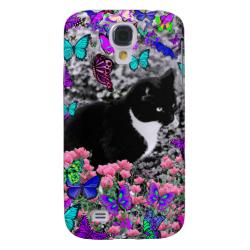 Freckles in Butterflies II - Tuxedo Cat Galaxy S4 Cases