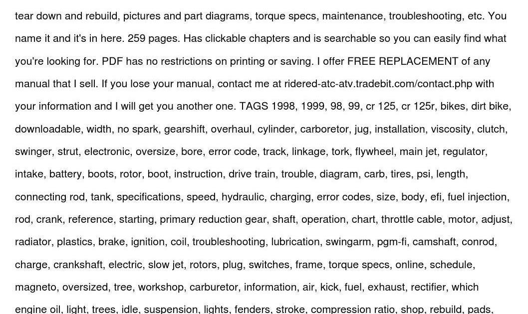 1998 Honda Cr250 Service Manual