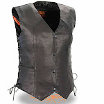 Milwaukee Side Lace Snap Up Womens Lightweight Leather Motorcycle Vest