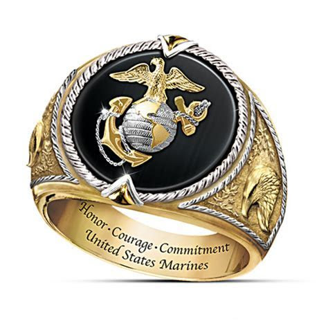 Honor, Courage And Commitment USMC Mens Gold Ring