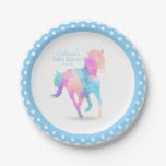 Blue Geometric Horse Baby Shower Paper Plate