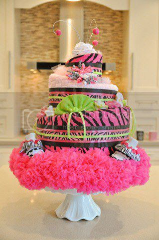 Hot Pink Zebra Diaper Cakes