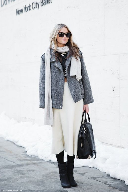 LE FASHION BLOG NYFW STREET STYLE WINTER MIDRIFF VIA COLLAGE VINTAGE SQUARE TORT SUNGLASSES LIGHT GREY OFF WHITE SCARF GREY SWEATER MOTO JACKET STRIPED CROP TOP OFF WHITE MIDI SKIRT ALEXANDER WANG EMILE BAG BLACK TIGHTS BLACK SUEDE ANKLE BOOTS NEUTRALS FW 2014 POLAR VORTEX DRESSING photo LEFASHIONBLOGNYFWSTREETSTYLEWINTERMIDRIFFVIACOLLAGEVINTAGE.jpeg