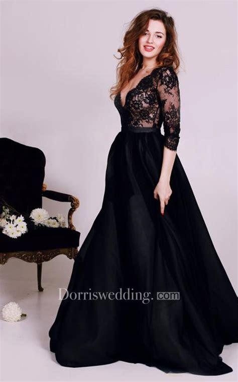 sexy black lace appliques  neck  evening dress