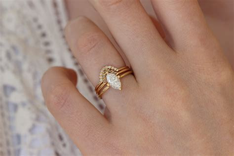 Marquise Wedding Set of Three Rings   One Carat Marquise