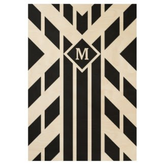 Black Angled Stripes with Monogram Wood Poster