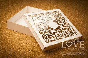 Pudełko Ażur liście na kartkę/album, 16x16 cm, z beermaty