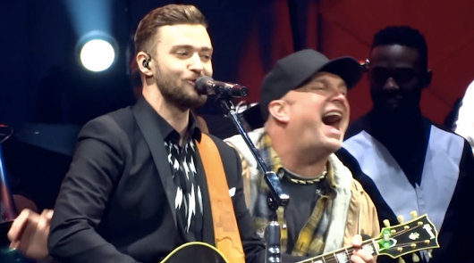 "Stop What You're Doing. Watch Justin Timberlake Sing ""Friends in Low Places"" with Garth Brooks"