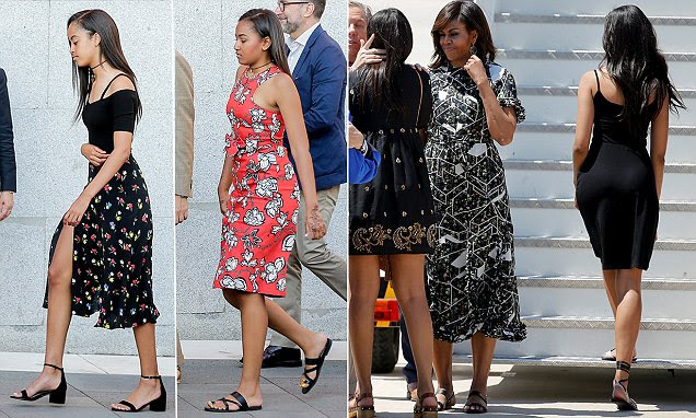 Michelle Obama and daughters Malia and Sasha show off their style credentials in Madrid