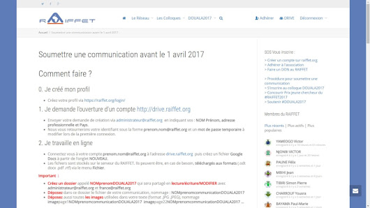5ème colloque International du RAIFFET APPEL à communication avant 1 avril 2017 - RAIFFET