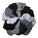Cotton Scrunchies (Black White Grey Assortment), 10 piece Pack