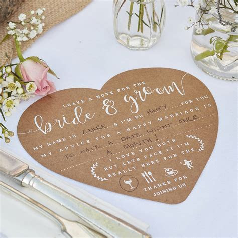 kraft wedding advice for the bride and groom cards by