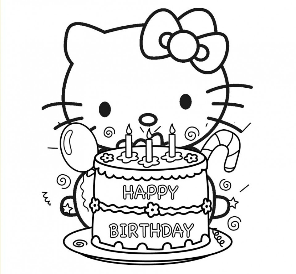 Get This Happy Birthday Cake and Party Coloring Pages 41840