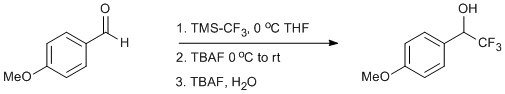 "Reaction Scheme: <IMG src=""/images/empty.gif"">Trifluoromethylation of <SPAN id=csm1378730185970 class=csm-chemical-name title=p-Anisaldehyde grpid=""1"">p-Anisaldehyde</SPAN><IMG src=""/images/empty.gif"">"