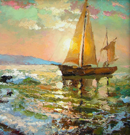 SALE Evening sail 2  Original oil painting on canvas by spirosart