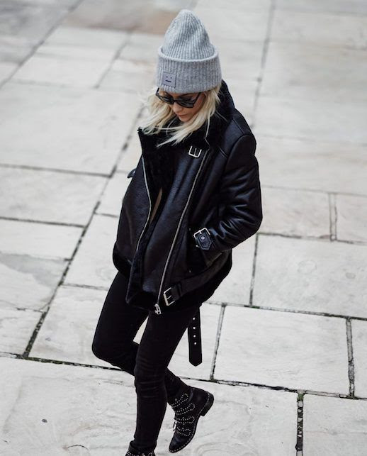 Le Fashion Blog Grey Beanie Shearling Leather Biker Jacket Black Skinny Jeans Studded Boots Via Happily Grey